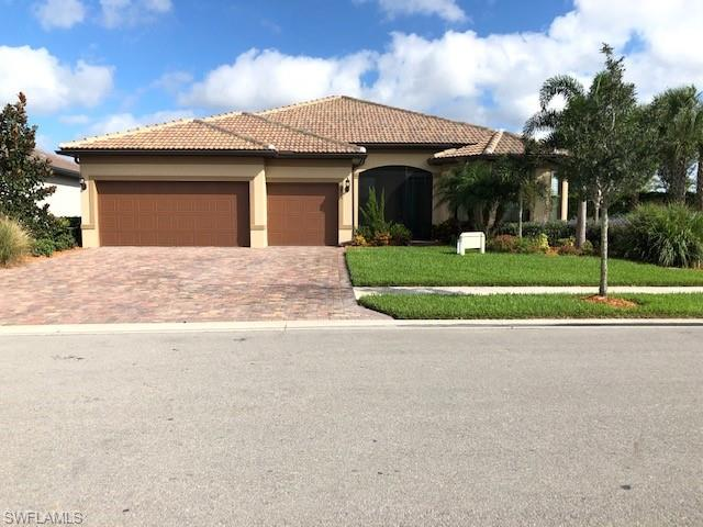 Located in the Del Webb community of Ave Maria, this Pinnacle model is move-in ready and is in like new condition. Very large corner lot. Replacement cost $460,161.13. This home was built in 2018 and is loaded with amenities, including impact glass throughout, Den with French doors, large extended screened lanai, zero corner door to lanai, walk-in shower, newly coated garage floor, upgraded cabinets, attic storage, upgraded fixtures, quartz countertops, finished utility room, large crown molding & more.