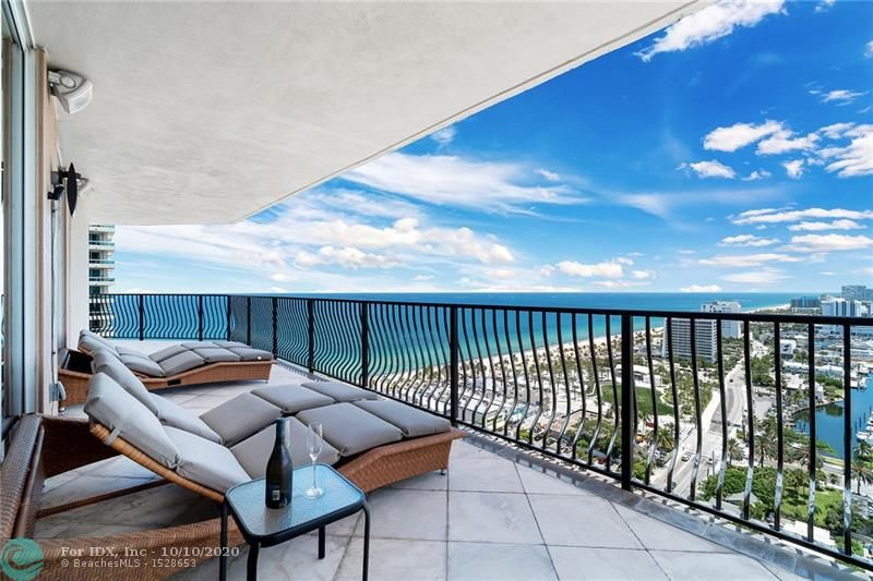 IF YOU ARE LOOKING FOR AN OUT OF THIS WORLD VIEWS - YOU FOUND IT HERE! This SE corner residence is on the 24th floor has 2 Bedroom + Den, 2.5 Baths with spectacular Ocean, Intracoastal and city views. 1100 sq.ft. of incredible wraparound terrace great for entertaining and outdoor living room. Direct elevator access from lobby and garage into a private foyer in the residence. Building is one block from the beach, Las Olas City Marina, water taxi stop, shops and restaurants.. Amenities: security, valet, pool, jacuzzi, steam room, sauna, billiards room, gym, club room. 2 pets are welcome!