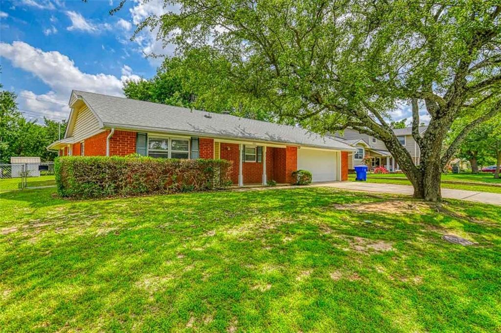 GREAT OPPORTUNITY IN THIS QUIET CAMPUS NEIGHBORHOOD! Home needs updating, but priced accordingly. 3+ LIVING AREAS AND A STUDY; formal living, dining/living room combo, and a HUGE DEN W/OPTIONAL OFFICE/PLAY ROOM ATTACHED. Over-sized 2 car garage with above ground STORM SHELTER and cedar lined closet. Large back porch overlooking your 1/4 ACRE LOT WITH 2 SHEDS. New roof installed 6/21. COME PERSONALIZE THIS HOME HOWEVER YOU LIKE!