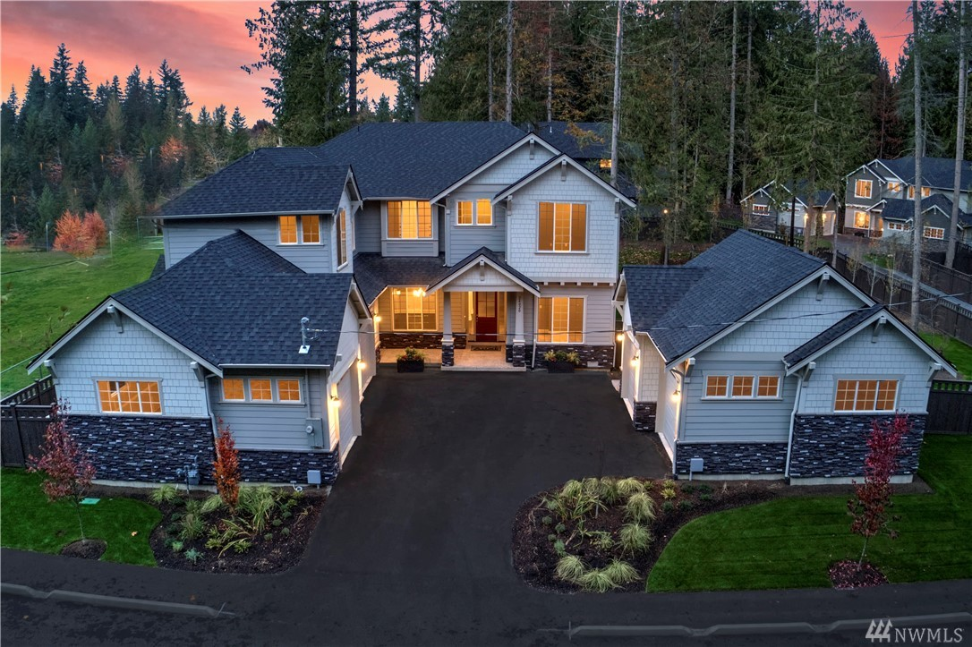 Sammamish Estates' latest masterpiece, The Sycamore (5076 sqft) checks all the boxes and is surpassed only by it's fabulous .65 acre level, fenced backyard. Alluring heart of the home great room, dynamic chef's kitchen, & main floor guest suite are just the beginning. Sumptuous master w/sitting area & fplc, chic walk-in closet, spa-inspired bath. Versatile bonus room. Outdoor living room w/gas fplc. Private yet connected to the community. 5 car garage & AC. Excellent Lake WA schools!