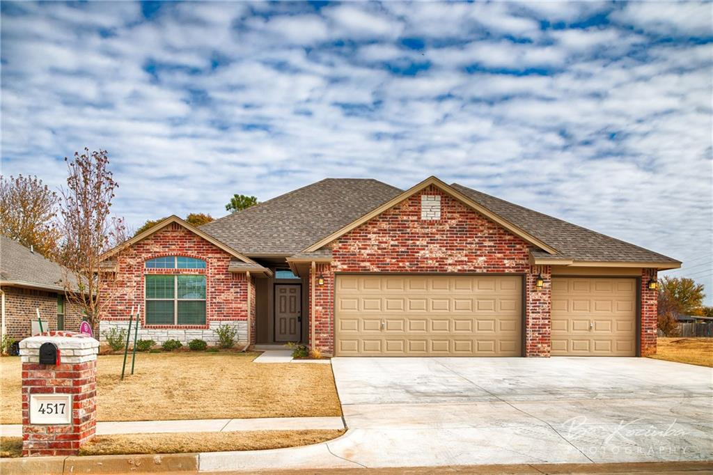 "New home almost finished.Build by Okla's oldest building firm since 1907.QUALITY & VALUE.River Mesa is a well established neighborhood w/HOA.It's like living in the country with an urban twist.Close to Kilpatrick Tpk & Rt 66.Great shopping nearby on old 66 & Garth Brooks.Good looking house offer OPEN CONCEPT LIVING w/MIL floor plan & comes w/1yr builder's warr & 10yrs structural warr.Wood fence w/gate,2""faux wood blinds,full sod + landsc pkg.Living Rm area-tall ceilings w/wood moulding,fan,gas fireplace.Electric & cable outlets above wood mantel.KITCHEN-GRANITE COUNTERTOPS w/tumbled marble backsplashes.SOLID WOOD CUSTOM BUILT CABINETS,STAINLESS STEEL APPL,SINK.Name brand appl-gas stove,microwave  & dishwasher.Pantry w/glass door for more storage.MBed Suite-vaulted ceiling w/fan,jetted tub w/window,double vanities,walk-in closet,ceramic tiled shower,separate toilet rm.4th bed might be used as office-it has French doors,eyebrow window,fan & wood floor.No wasted space & lots of storage!"