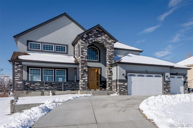 New home smell is here!  This Beautiful New Build Luxury style home in the heart of Littleton is walking distance to outside trails and Chatfield reservoir with mountain views. Park your boat here and have it at the lake in minutes. Outside features a round about drive way and park what you would like to park here as there is no HOA. The  hardwood floors  throughout the entire home. On the main level the  home features a gala style staircase, vaulted ceilings and high beams separating the dinning area. The gourmet style kitchen features quartz countertops, with white 42 in cabinets beaming with light. The upstairs features a loft space with an open balcony to view the mountains. The main floor master retreat features his and her walk in closets and 5 piece bathroom set and a jacuzzi tub. A total of 3 baloney areas plus a huge front patio area.  This energy star rated home included 2 furnaces and 2 central air units with roughed in plumbing in the basement.
