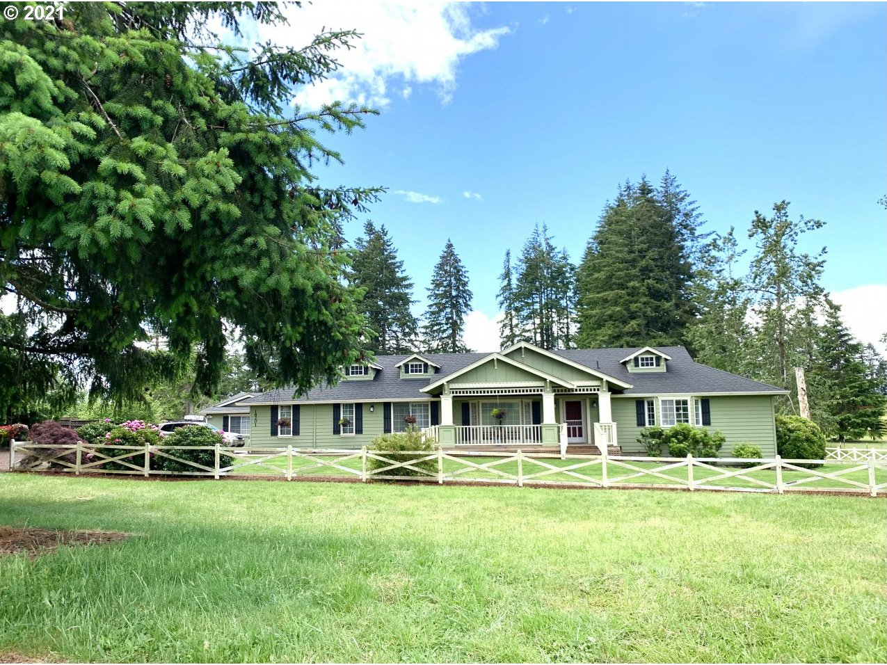 Custom ranch on 3 acres. Attached 2 car garage with tandem storage room. 22x23 shop with concrete slab 3 more outbuildings. Well maintained with records. Newer 40 yr roof, new AC & furnace. 2 water heaters. On septic. Sprinkler system, expansive deck. Master bedroom with large walk-in closet & en-suite bathroom, 2nd master with walk-in closet with adjoining bathroom, den could be converted to 3rd bedroom.
