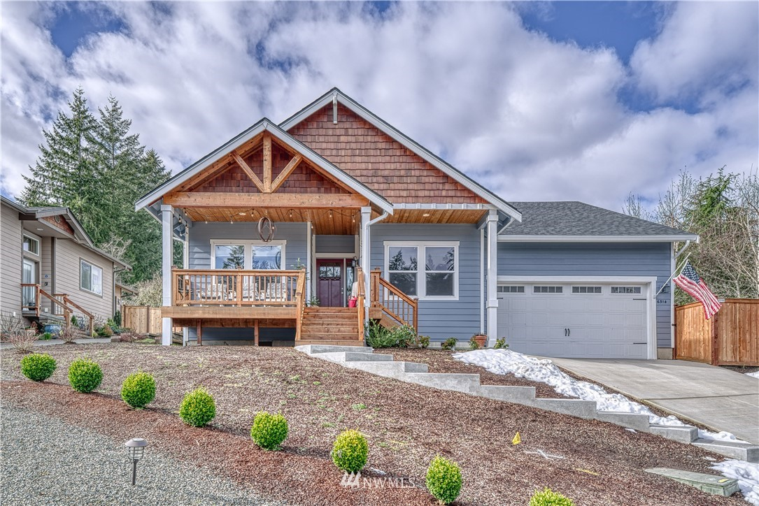 Beautifully designed, open concept, one level living in the heart of Gig Harbor! Peek-a-boo views of sound & within walking distance of Historical Downtown + Uptown shopping. Built in 2018, 3 bed + den nestled within a quaint cul-de-sac community. Cedar front porch leads to grand, light & bright entryway. Walnut hardwood flooring, recessed lighting, 9ft ceilings, high-end & custom finishes throughout. Kitchen boasts quartz counters, SS appliances + walk-in pantry. Cozy up to your stone finished fireplace in the living space & stay cool w/ AC in the Summer! Large master suite w/ a walk-in closet + INCREDIBLE custom stone & glass enclosed shower. Low maintenance & fully fenced backyard - perfect for entertaining! No detail left unturned!