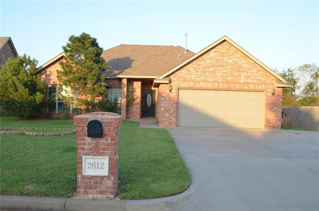 Welcome to the heart of Moore and this wonderful 3 bedroom 2 bath house. Boasting a nice open floor plan, this home is great for entertaining family and friends. The large living room has a fireplace for those chilly nights. Your new kitchen offers a breakfast area, breakfast bar,  and a designated pantry. A large master suite has a large walk0in closet, and a full bath with dual vanities, jetted tub, and a shower. The 2 guest rooms are also spacious, have walk-in closets, and share a full hall bath. Relax on the covered patio overlooking your fenced yard.