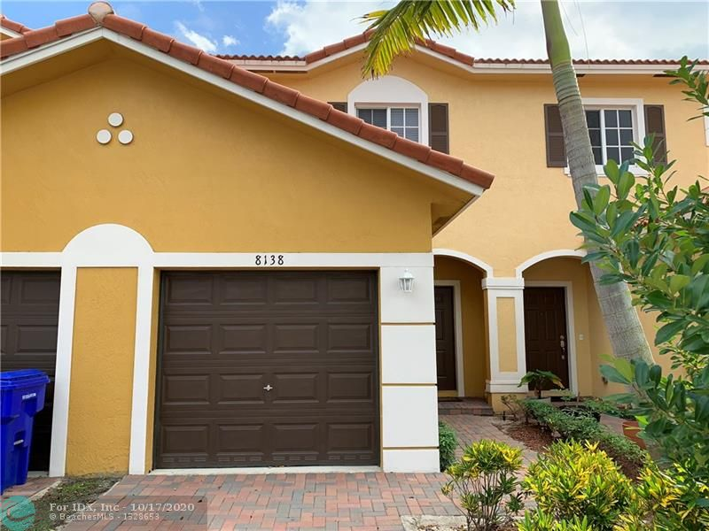 An absolute beauty in Mediterania of North Lauderdale. This newer unit is rented and is now for sale with tenant already in place until March 2021. Rent is $1800/mo. The unit boast 2.2/5 and a 1 car garage with parking out front. Spacious inside. W/D in garage. Kitchen has matching GE appliances overlooking the family room. Half bath located downstairs for your convenience. Floors consist of tile and wood laminate. Carpet on the stairs only. Nice size bedrooms. Neutral colors throughout. Association cuts lawn front/back. Close to Publix, major roadways and the turnpike.