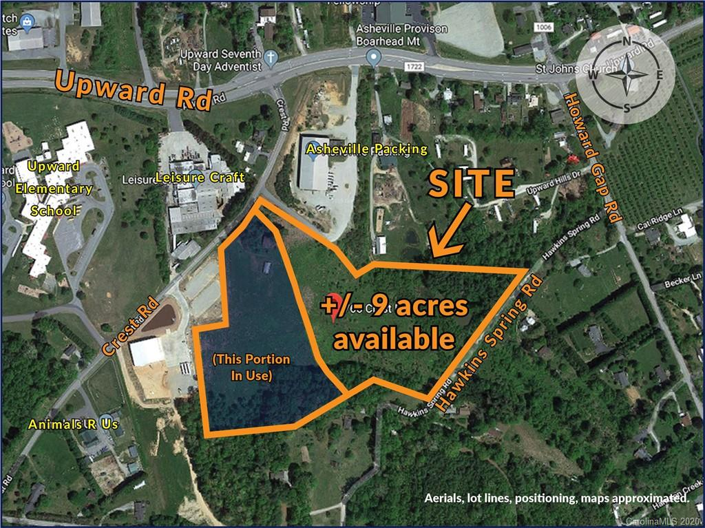"The property is in a high growth Industrial area of Henderson County long known for overpriced land. This property is priced to sell and offers many possibilities from manufacturing, cold storage for apples, warehouse/mini-storage leasing etc....There is one small stream that can be redirected into a culvert. Estimated 7+/-usable acres that is gentle sloping w/good compactable soil. Existing manufacturing ""Leisure Craft:, Upward Elementary and one neighborhood border the property. Very little if any opposition from neighbors anticipated for future development."