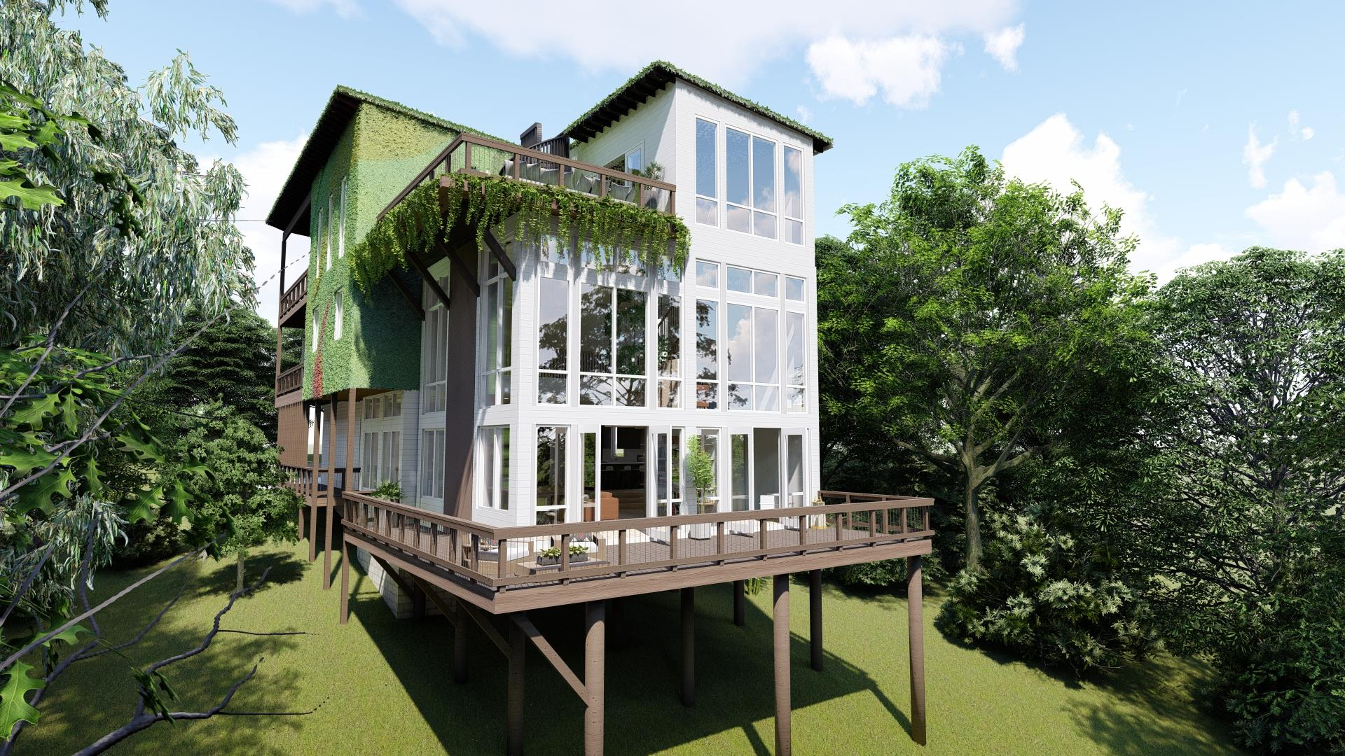 Most remarkable home in Nashville. Unobstructed VIEW OF DOWNTOWN. Eco friendly, in the park, cliffside overlooking downtown and the Cumberland River. Rooftop deck, green roof and living walls. Interior storm shelter included! Attached airbnbable space/ mother in law suite. Customizable.