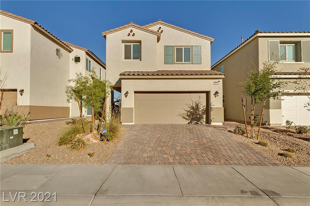 MAKE THIS YOUR HOME TODAY! 4 BR, 3 BA two-story home in a gated community. This community is located near the VA hospital, a short drive to Nellis Air Force Base and easy access to the 215-Beltway and I 15. Rear living room opens to the dining nook and kitchen. The kitchen features an island w/breakfast bar, pantry and SS appliances. 1 bedroom down. Master bedroom w/ceiling fan, walk-in closet and ensuite bath w/dual sinks and shower w/bench. Spacious loft. Backyard w/covered patio. MOVE IN READY!