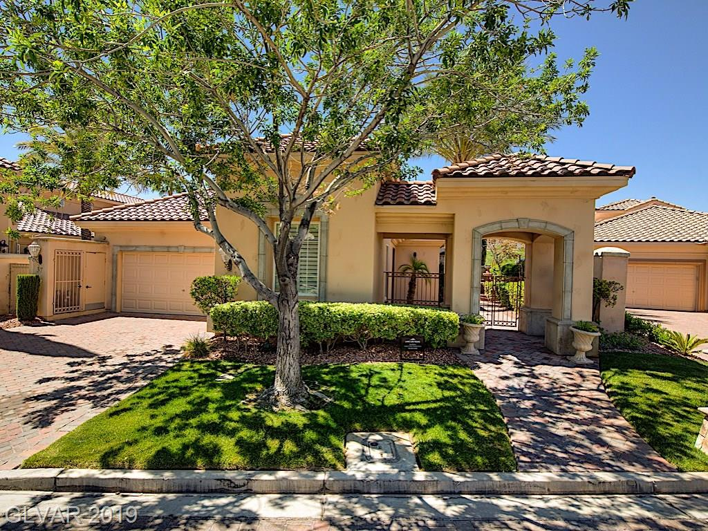 Charming home in Bella Vivente gated community of Lake Las Vegas, on 5th green of the South Shore Country Club. Great views. Cobblestone streets and drive, meticulously landscaped yard. Fully furnished, with molded ceilings, circular alcoves. Natural light floods into living areas. Fully-appointed kitchen. Master suite with jetted tub, shower, and closet. Covered patio, private pool and spa. Office, casita, and 2-car garage round out amenities..
