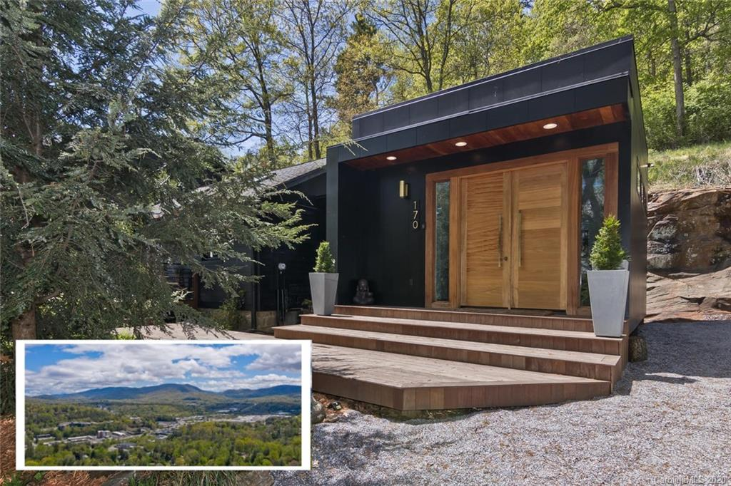 Incredible ONE-OF-A-KIND modern home nestled on Beaucatcher Mountain is a must see! This home is 5min to downtown Asheville but you would never know it from the sheer privacy and calm provided by huge sun-filled windows, mountain views, & fully fenced yard. This home has been impeccably well maintained with stunning contemporary finishes. From a 1940's cabin taken down to the studs and rebuilt into an oasis of modern architecture, every room has been thoughtfully remodeled, including  additions in 2004&2015&2018. Uniqueness such as the giant picture window showcasing gorgeous natural rock face, custom walnut lighting features, and exposed fireplace make this home a rare and beautiful mix of old and new, cozy and chic, luxury and simplicity. Bright and airy with natural light, vaulted ceilings, large windows, gorgeous master suit, full guest suite, privacy, flat yard, updated kitchen, mountain views, and  close proximity to AVL make this house a rare & stunning find! WATCH the 360tour!