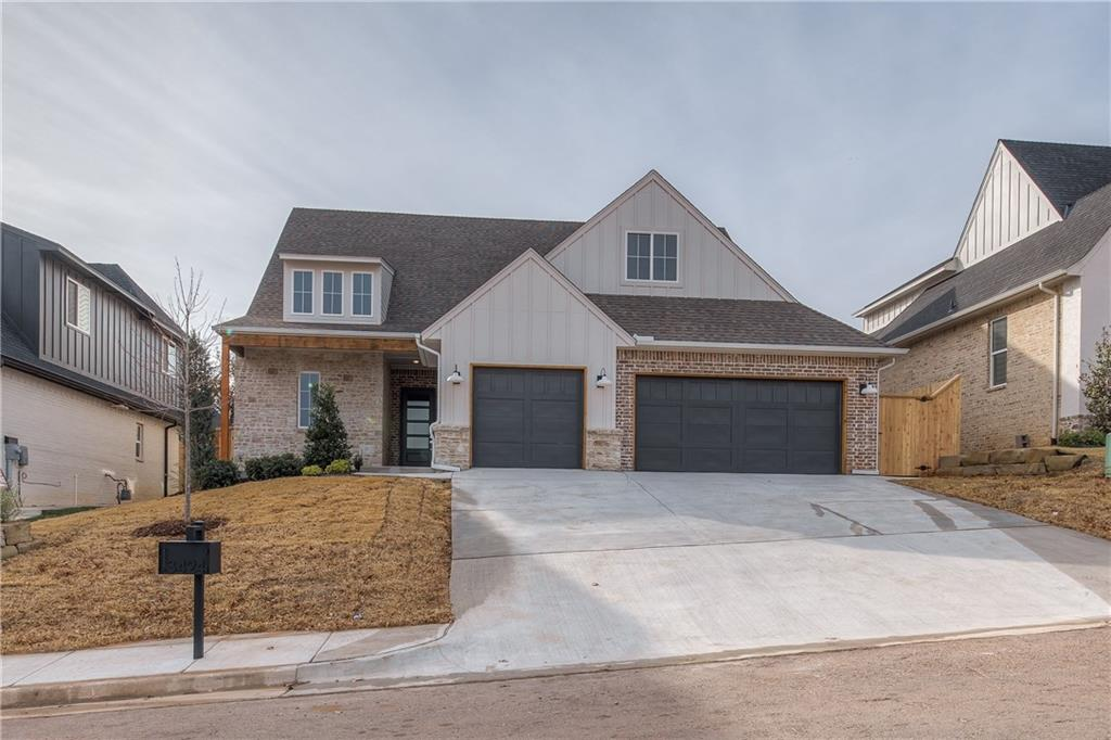 Walk to the community pool from this transitional home by award winning builder! Ready Fall 2020! Get under contract now to customize this home. You'll love the finishes and features including wood floors, tankless hot water heater, 16 SEER AC, 3 cm quartz and outdoor fireplace. The living room is completely open with tall ceilings and bright windows. The kitchen features quartz countertops, wood vent hood and a farm sink. Great layout featuring 3 bedrooms + a study/media room. Master bath features a large soaker tub and great size closet with a window! Cross Timbers is Edmond's newest community featuring a resort style pool & cabana, modern farmhouse clubhouse, fitness center, walking trails and more! All conveniently located just 1 mile west of I-35 near Starbucks and the new Showbiz Theater.