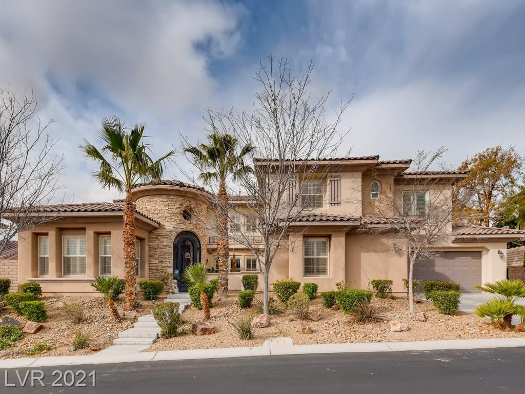 A must-see property! Elegant 4 Bedrms, 4 Bathrms w/Pool + CASITA, Den & Office. Located in gated community Serrano by Toll Brothers @ Paseos Summerlin. Hardwood floors & Shutters throughout. Formal Living & Dining Area. 2 Story Family room. Central Front Courtyard provides natural light to the whole house. Large Masterbdrm with sitting area,balcony & Spa like bthrm. Can accommodate a Multigeneration family with 1 Bedroom w/Bath downstairs + CASITA w/Bath. Great outdoor living space backing Paseos Park & Trail. Breathtaking Park & Mountain views.  Amazing Pool & Spa, built-in BBQ & Gazebo area. Walk to 5 Star School & FoxHill Park!