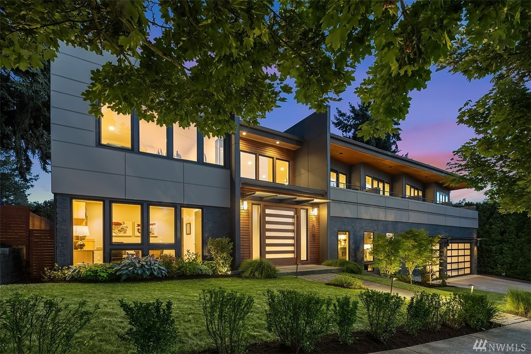 Contemporary design, quality build + brilliant location provides the perfect base for entertaining & comfort in this spacious, Kirkland home. Signature pivot-door entry opens onto light-filled rooms with easy flow circular plan blending function & style. Walls of glass seamlessly integrate indoor/outdoor living. Great room kitchen/dining fitted with top-line materials will be center stage for all gatherings large or small. Sumptuous master with lake views, home office, media + custom wine room.