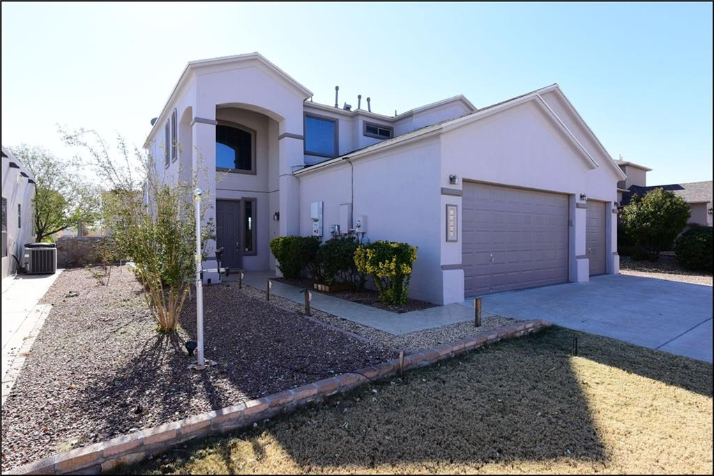 """El Paso's Eastside Neighbor - Horizon City – You will love this home. Take one look at this home and say """"Wow!"""" This amazing 4 bedroom, 3 bath, and 2 story home is ready for you to move in! The living room is bright and open with a fireplace. Kitchen has an island to include stainless steel appliances with a generous breakfast area. All bedrooms have spacious walk-in closets. Master bedroom has its own jetted tub and plus walk-in closets. Enjoy the perks of this home, Solar electric energy, which means… huge savings. Enjoy your monthly electric bill to be so low, you will want to keep the Refrigerated A/C working all the time. Just a few perks to mention, 3 car garage, separate laundry room, salt water system and extensive plants and trees to give you that warm feeling of pride when enjoying the front and backyard. Give us a ring to schedule a showing, you'll be glad you did."""