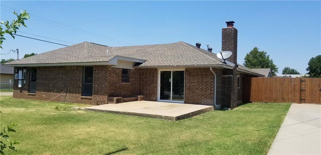 Great brick house on 1/3 acre corner lot with 2 big shops! New carpet and paint throughout. Nice kitchen with lots of cabinets and breakfast bar.  Ceiling fans in all 3 bedrooms and living room.  Huge room could be den, game room, tv room, you name it.  Has a separate office, with built in desk and cabinets.    Refrigerator and washer/dryer come with this awesome home!  New outside A/C unit. Storm Shelter with 2 built in benches.  2 vehicle carport.  Good size bedrooms.  Master has walk in closet and built ins!  Huge lot with lots of possibilities! This is a very nice property!