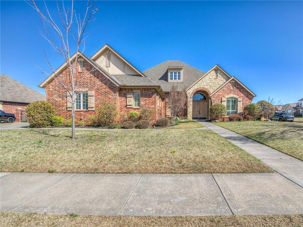 This beautiful 3,056 sq. ft in the Carrington Place addition sits only about ten minutes away from the Norman Regional Health plex off of I-35, and about 5 minutes from 19th street in Moore. This home has a stone fireplace in its large inviting living room, tall ceilings, and large windows with plantation shutters. The kitchen is a great space for entertaining anyone with an appetite, it offers a breakfast bar, dining nook, stove top, double oven, large pantry, and a large island with a prep sink. The kitchen also has granite counter tops and under cabinet lighting. The hall comes with a built-in bench, a half bath, and a desk with slots for your mail and extra storage. You will enjoy the large utility room with a sink, storage closet, formal dining area, den/bonus room, and a study with classic French doors and built in shelving. In the master you will find a large walk in master bathroom and closet equipped with a jacuzzi tub, matching vanities, and a private walk in shower.