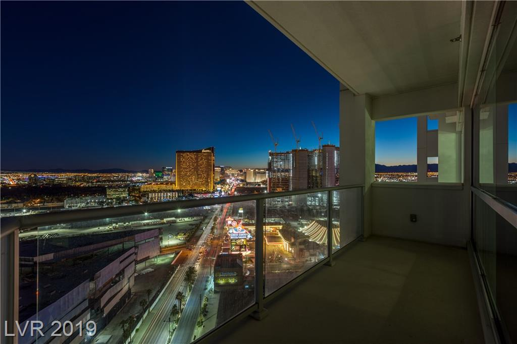 SPECTACULAR REMODELED UNIT ON 25TH FLOOR WITH AN INCREDIBLE VIEW OF THE STIP.  MODERN AND LUXURIOUS HIGH RISE WITH WRAP AROUND BALCONY, POLISHED PORCELAIN, MARBLE AND GRANITE BATHROOM, KITCHEN HAS STAINLESS STEEL BOSCH APPLIANCES, CUSTOM PAINT THROUGHOUT. MANY AMENITIES INCLUDED ARE: VALET, CONCIERGE, SECURITY, MEDIA ROOM, POOL, SPA.