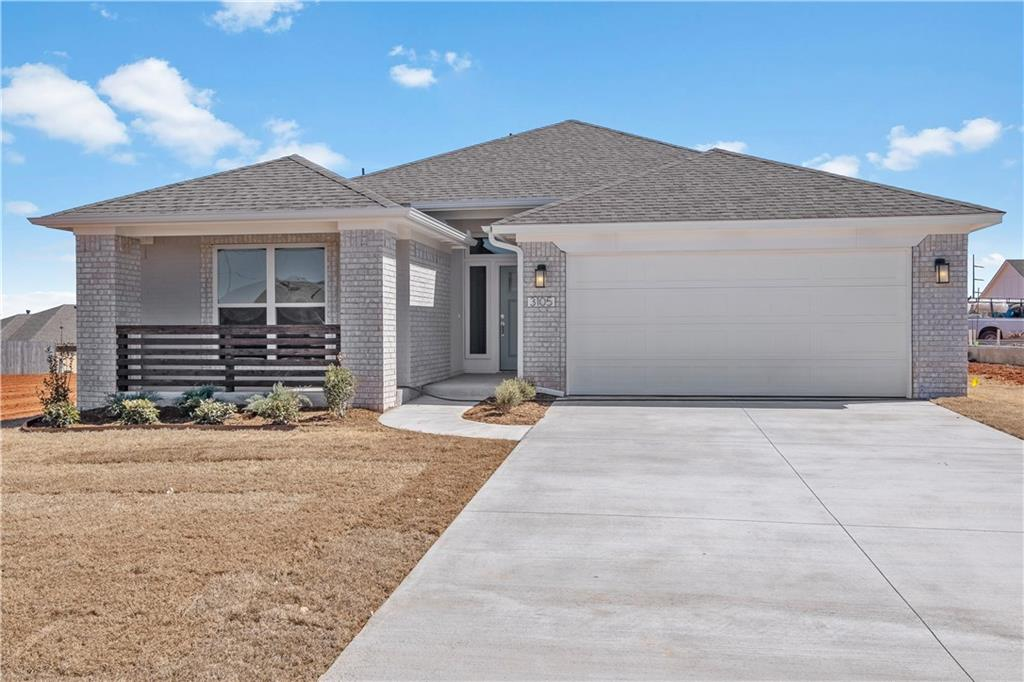 Built in the Norman North School district, this brand new, contemporary styled three-bedroom home offers an open living/dining floor plan with study, indoor utility room, and outdoor covered patio. The kitchen features stainless steel appliances with gas range, microwave, quartz counter tops, tile back splash, and breakfast bar. The home boasts a HERS score of 60, guaranteeing you low heating and cooling costs all year long. Full fencing and landscaping included. Scheduled to be move-in ready in January 2020.