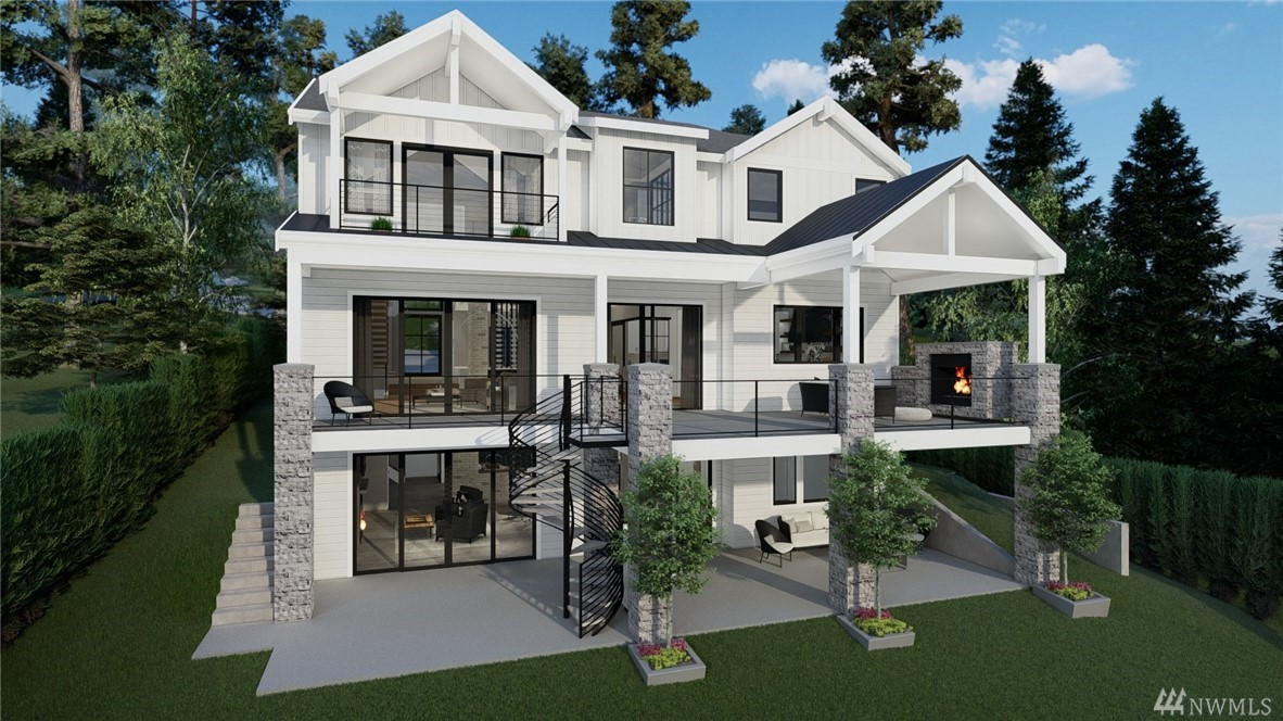 Mercer Island waterfront with new construction modern farmhouse.The home has a beautiful open design ideal for entertaining. Great room & stunning kitchen flow seamlessly to the deck, lake & mountain views. Wonderful fixtures accent the home, gorgeous cabinetry,quartz counters,steel accents,floating stair, & custom two sided wine wall.Master suite is luxurious with a spa like bath, fireplace & private balcony. Media, game room & guest suite. Very private setting. Dock for larger boat & ski boat.