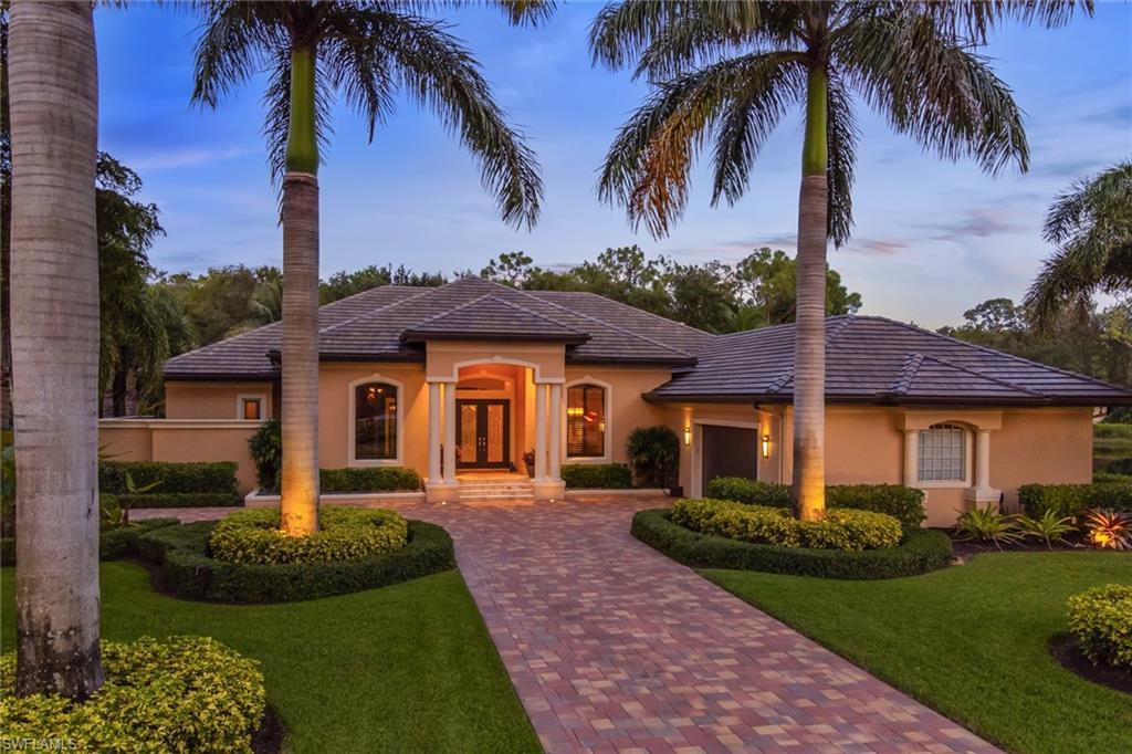 Take a tour of this house in the highly sought-after Stonegate at Crossings & fall in love w/the location, layout, & splendor of your future home. This move-in-ready residence is situated on an oversized site w/exceptional landscaping & lighting & new pavers, as well as an outdoor gardening prep area. Step inside & take in the details that make this house a home, such as tray ceilings, custom millwork, custom built-in cabinetry, & a wood-burning fireplace. The 3,641 sqft accommodates 3 beds, plus a den/office, & 3 full baths, as well as a gourmet kitchen w/Cristallo quartz countertops, dining room, laundry room, family room, & abundant storage. The French doors in the master bedroom & the sliding glass doors in the living room lead to your outdoor living space w/a custom kitchen, pool, & spa. A preserve view at the back of the home offers privacy, while a separate patio allows you to enjoy sunrises over the lake. This home features an oversized garage, new roof, & whole house generator. Explore this stunning home in an incomparable gated community w/low HOA fees, 1 mile from Mercato, 3 miles from Vanderbilt Beach and the Ritz Carlton Beach Hotel, & moments from Waterside Shops.