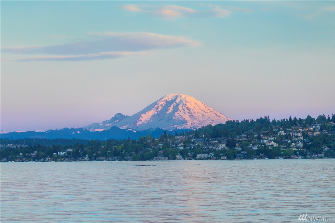 Lake Washington living awaits you!  Poised at water's edge, custom 2003 designed to address the lake and the spectacular Mt. Rainier views!  A private setting; 5320 sq. feet offering open gathering spaces, view terraces, luxury finishes, 6 view bedroom, 3.5   baths and 3 car garage.  Exceptional deep water yacht moorage plus 1/3 share in a 2nd dock.  Nearly 120 ft. of true sandy-beach front for play, evening pit fires.  Easy access to DT Seattle and SeaTac.  Gated, Private.