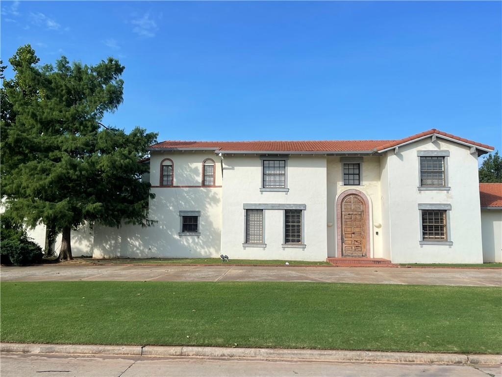 """This Mediterranean Classic is located on Lancet Court in Nichols Hills and already boasts many items that are important to buyers.  Great curb appeal, private cul-de-sac, resort style pool, pickle ball court, 3 car garage, downstairs owners suite, two large living areas and an office. Exquisite marble floors are the foundation for an incredible remodel opportunity.  Home to be sold """"as-is"""""""