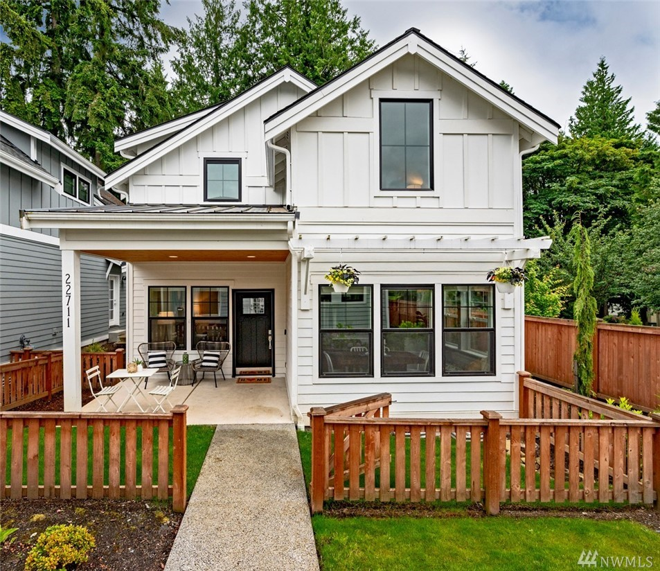 Adorable modern farmhouse cottage in Sammamish. Detached condo that lives like a single family home. Main floor master with 2 bedrooms & bonus loft upstairs. Chef's kitchen boasts white cabinets, quartz countertops, gas stove & SS appliances. Open concept w/vaulted ceilings, millwork, hardwood floors on main floor, fenced yard & A/C. Detatched community rm, rooftop deck & garage. Issaquah schools, close to Pine Lake Park, YMCA, library, Sammamish Commons and MSFT connector. It's turn-key, hurry!