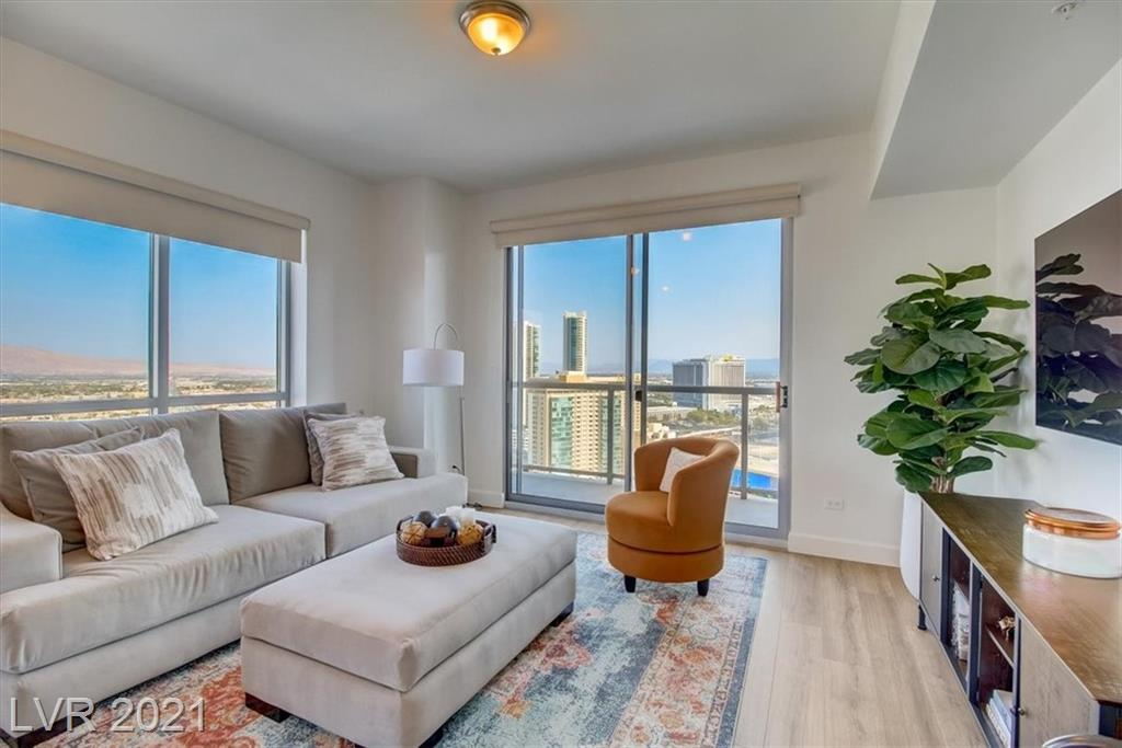 Luxury 27th Floor Condo at Allure overlooking the Fabulous Las Vegas. Three balconies with North, South, and East exposure. Enjoy these outstanding views through floor-to-ceilings windows, or inviting private terrace. The kitchen shows beautifully with stainless steel appliances and spacious island. Primary Bedroom with nice sitting area & walk-in-closet. Comes with 2 covered parking spaces in parking garage. First class amenities include social calendar, concierge, valet, doorman, 24 hour security, fitness center resort pool/spa with cabanas, media room, roof-top jacuzzi, covered game area on pool deck with table tennis, and pool table, and so much more!