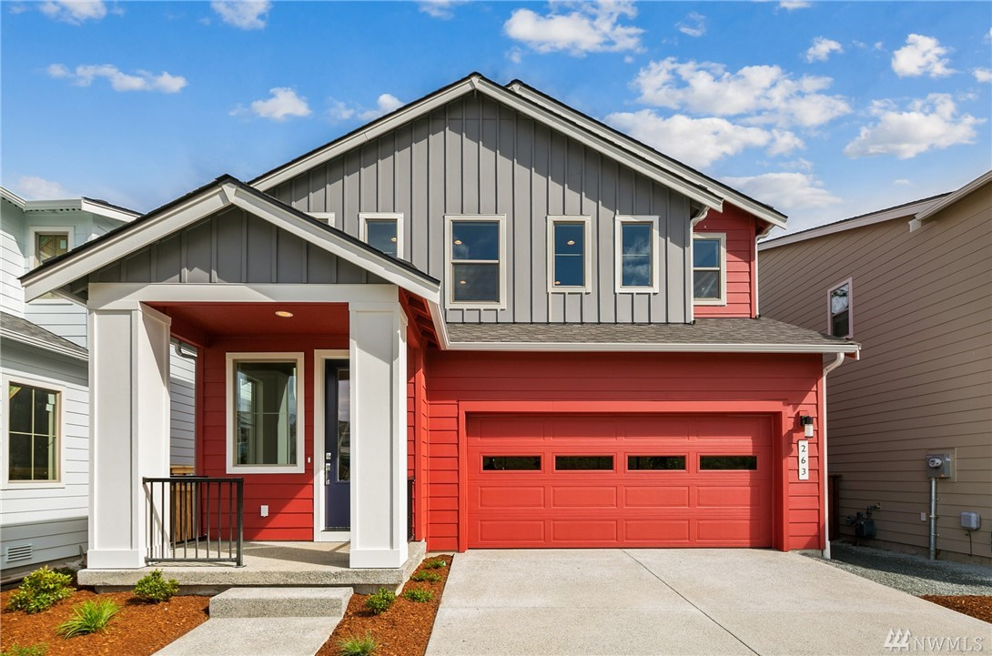 Contemporary, 2-story home in Wind Rose by Conner Homes in the Greenbridge master-planned community. Features attached 2-car garage, Great Room Concept on Main, Kitchen w/walk-in pantry, granite counters, soft-close cabs, large Dining & Living Room areas with gas FP plus bedroom & 3/4 bath. Upstairs spacious Master w/large bath & W/I closet, 2 more beds, full bath, loft & laundry. Landscaped with fenced rear yard & covered patio. Close to Seattle & SEATAC. Est Dec Completion.