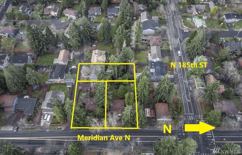 5 parcel assemblage totaling 41,549 square feet located 0.55 miles from the future 185th Street light rail station and 0.5 miles from the very active Aurora Ave N Transportation Corridor! The MUR-45 zoned land can accommodate approximately 113 apartment units, 22 zero-lot line townhomes, or 29 condominium townhomes. This strategic assemblage represents a key entry to develop a prime piece of real estate in the heart of Shoreline. Value is in the land.