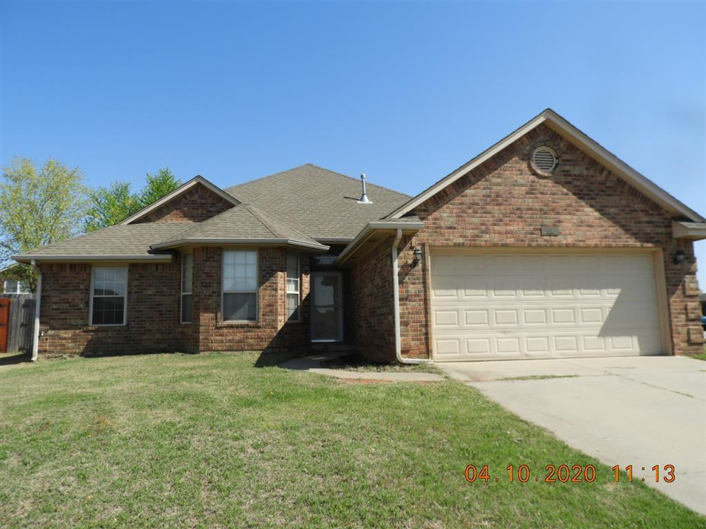 What a buy on a corner lot home with 4 bedrooms, 2 bath, 2 dining and huge living with corner fireplace in Moore Schools!!  This home has ton's of potential!!  Large kitchen with center island bar...  Double sinks and separate tub/shower with jetted tub in master bathroom!!  Very close to Veteran's park!!