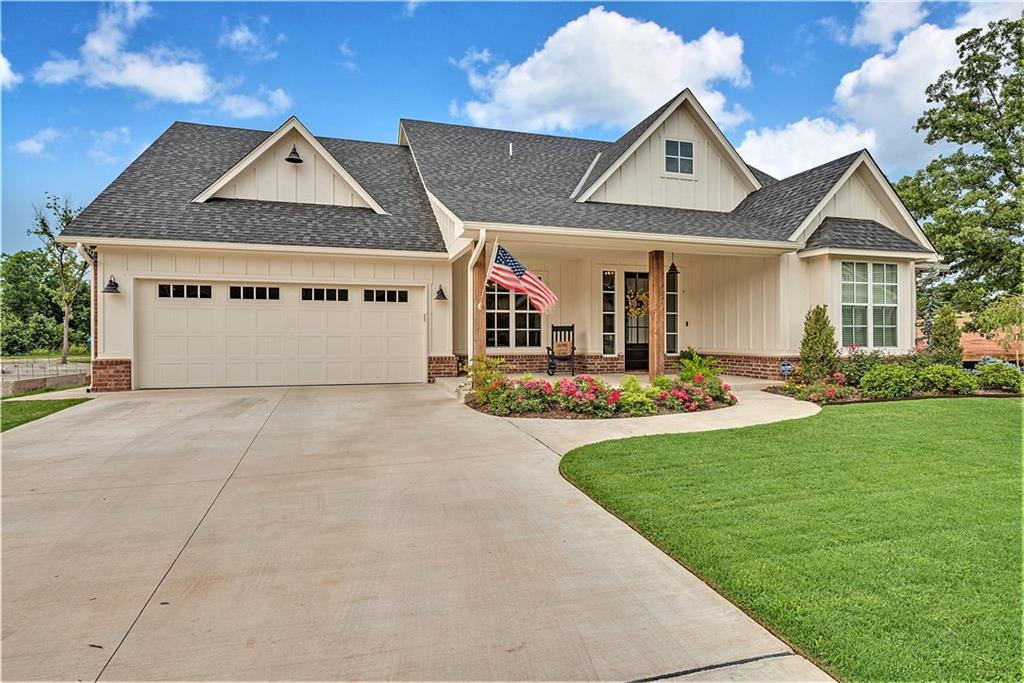 Beautiful Custom Modern Farmhouse Design home featuring Open Concept Living, 3 Bedrooms + Study + Upstairs Theatre/Bonus Room! SO many details to love in this home...Gorgeous Wide Plank Wood Floors, Beautiful Granite, Rustic Wood Beams & Open Shelving, Custom Built-Ins, & TONS of storage to name a few! Great layout for entertaining! BIG Kitchen Island w/Seating & Farm Sink, positioned to enjoy guests in living & outdoor spaces PLUS relaxing views of Neighborhood Pond. Master Bath has LARGE Shower, Double Vanities & Awesome Free-Standing Tub! Walk-In Closets in ALL Bedrooms! Smart Home Technology & AT&T fiber to the house! 3 Car Tandem Garage! Situated on a quiet street in the Lovely East Edmond Community of Cottage Grove & only a few minutes from I-35! LIKE NEW home priced at LESS than NEW price per SF in the addition! A MUST see Property!