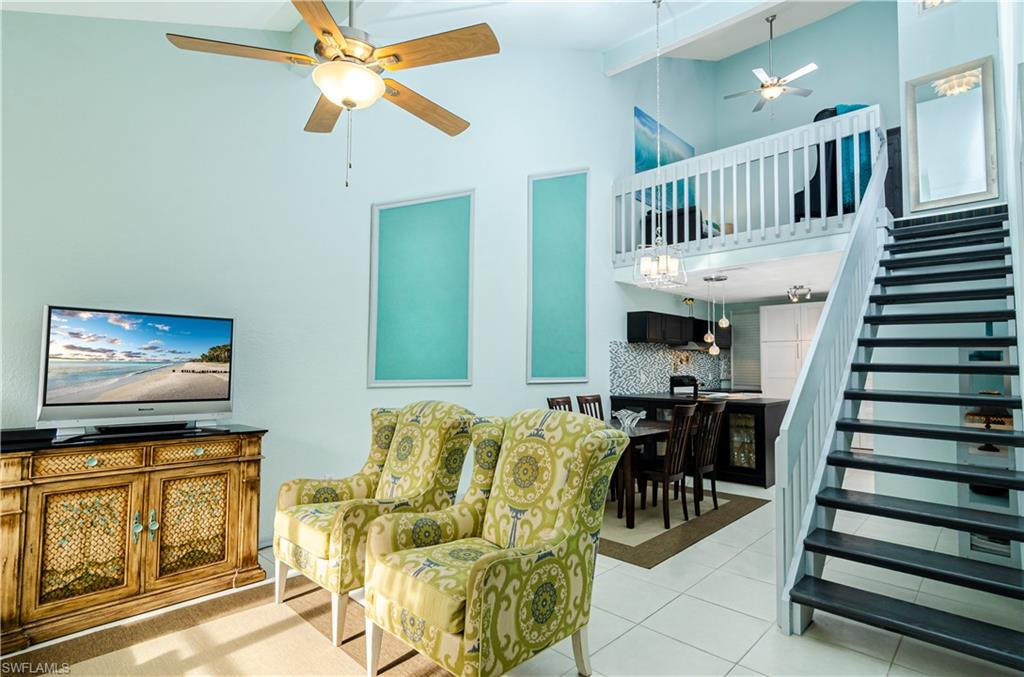"""C.17166   LOCATION!!! A short walk or bike ride to Mercato restaurants & beautiful Vanderbilt Beach. Five minutes to Waterside Shops and Artis Naples, Fifteen minutes to 5th Avenue. This gorgeous multi-level 2 bed +loft, 2.5 bath has remodeled bathrooms and a remodled kitchen with white solid wood cabinets and open concept. Plenty of functional storage. Extended kitchen counter with glass display. Spacious living/dinning area and vaulted ceiling provide a WOW factor. All newer appliances including washer/dryer, fridge, DW, hot water. AC 2018. Roof 2018. Tile floors throughout main level & versatile carpet tiles on second level. New light fixtures and EcoBee thermostat. Freshly painted impeccably pristine condo has a sought-after ground entrance with master on the main. Screened lanai with seating for 6 and storage locker. Added bonus is the 1/2 bath on the first floor and full size Laundry. Renovated Club House/Pool. A dream home with dream location. Whether you are a full time resident or a part time """"snow-bird"""" this nest is perfect for you."""