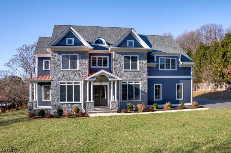 Dream home in sought after Mendham! NEW CONSTRUCTION State-of-the-art 4 B, 4 Full, 2 Half Ba custom home exquisitely situated on 1.69 AC! Elegant retreat w/an open & airy floorplan, steeped in sunlight w/high end finishes t/o. Highlights include stunning h/w fls, dazzling Entry Foyer, Study/Library, Fam Rm w/ coffered ceiling! Gou Chef's Kitch w/marble, shaker style cabinetry, immense chic gray island, high end ss appliances  & huge Pantry. 3 Car Gar. MBR Suite w/tray ceiling, Sitting Rm, 2 w/in Closets & spa-like Bath. 3 other stunning beds (all ensuite!) on 2nd level w/luxe baths. Convenient 2nd Fl Laundry. Massive LL w/ fab Rec Rm,  Game Rm w/fireplace, Custom Bar Rm & Wine Cellar. Gorg Deck overlooking idyllic yard, do not miss this stunner!