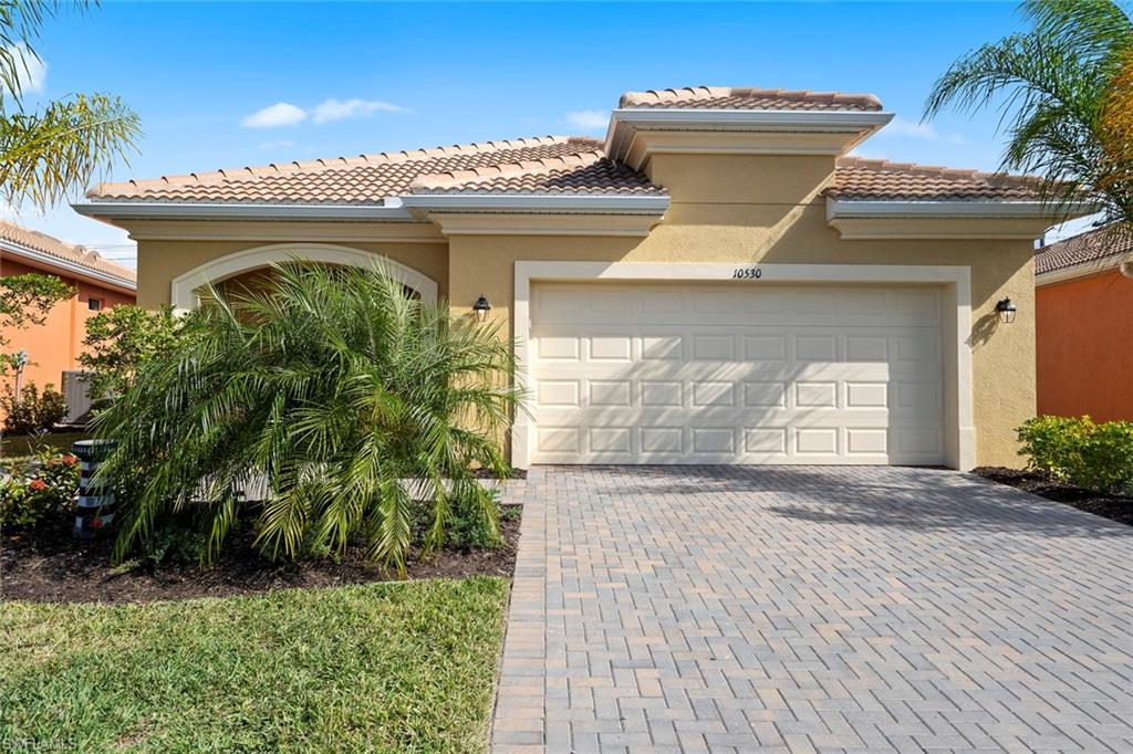 Brand new, never lived in 2 bed plus den, 2 bath home in the 55 and older community of Prato at Pelican Preserve.  Home is unique from others as owner added an additional $20K for an additional extended lanai (this is in addition to the lanai that Lennar offers) with brick paver, side path and cage. Home offers sought after open concept floor plan with numerous upgrades throughout. Upgrades include, crown molding, granite counter-tops, large tile in main and wet areas, stainless appliances.  Master en-suite boasts dual sinks and walk-in shower with accent tile. Enjoy the amenities and activities that the community has to offer with the town center, arts center, fitness center, resort pools, restaurants/bars, amphitheater, tennis, pickle ball, plus more!  Golf enthusiasts, additional memberships available for the 27-hole golf course designed by Chip Powell.