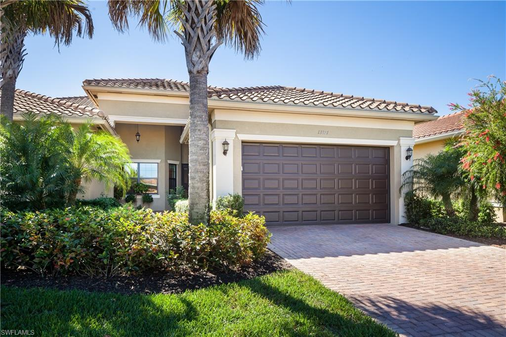 """Built in 2017, this beautiful, highly desired """"Oxford"""" model offers 2 BR's, 2 BA's, formal dining room, high ceilings & generously sized separate den. Upgrades since build include new flooring throughout, complete hurricane protection, closet built-ins, upgraded appliances, refinished garage flooring, freshly painted & more. Over 1850 ft.² of living space, with a private front entrance, screened lanai, & open patio. This elegant, attached villa is located in Marbella Isles Community, which provides gated security, resort style pool & sport/fitness amenities, tennis/picklball, 9,500 sq ft clubhouse, children's area, entrances from both Livingston & Airport Road, yet reasonable HOA fees. Perfectly positioned in North Naples, it is mere minutes from the beach, shopping, restaurants & health care. NOTE: Present owner cannot vacate the property until October 1, 2021. Dining room chandelier & garage refrigerator excluded from sale. Airport entrance is for resident use only. Realtors read confidential remarks."""