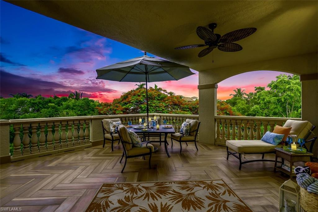 """C.17650 In a Class by itself! Treat your family to this unique Olde Naples Penthouse Oasis at Lantana; a boutique complex of 17 residences 1 block from 5th Ave's dining & shopping & 4 blocks from Naples Beaches! Surrounded by a lush garden setting w/ 2 pools, 2 spas, waterfalls & grilling areas, this meticulously renovated top floor end-unit offers 3 en-suite BRs & flex room (den or 4th BR), a 2-car garage & additional storage. Featuring 3 balconies, you'll enjoy sunrises & sunsets surrounded by a canopy of red Royal Poinciana & yellow Tabebuia trees. A top-of-the-line kitchen features quartz countertops & maple cabinets w/glass fronts. Appliances incl; Viking Pro 36"""" cooktop, Bosch oven, Thermador 36'' Pro refrig w/custom wood panels & integrated 18"""" wine cooler, Bosch micro & dishwasher. The soaring cupola in the great room brings light & sky views into this top floor oasis. The Master suite balcony overlooks the gardens and pool area. The Master Bath features porcelain tile, Tribeca Metro tub, walk-in shower w/Grohe fixtures & breakfast bar w/ Subzero cooler. This pet-friendly complex allows 2, w/max combined wt. of 100 lbs, so invite your furry family members."""