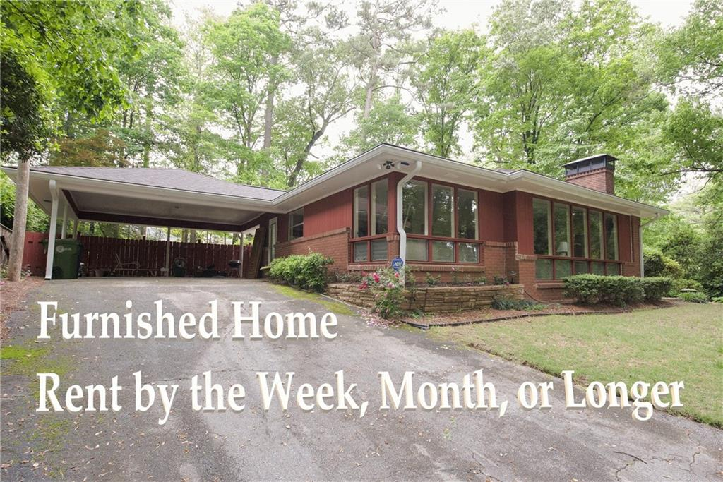 Furnished home available for 2 months or LONG-er. Classic Buckhead 3 br/2 ba ranch home in the Sarah Smith school district.  Gorgeous, large lot with long driveway in great Buckhead/Brookhaven location. Beautiful stone patio overlooking meticulously maintained backyard and flower gardens. Welcoming foyer leads to both the family room and the living room. Hardwoods throughout. Kitchen opens to breakfast area with beautiful view to back patio. Peaceful and private but close to everything!  Call for details