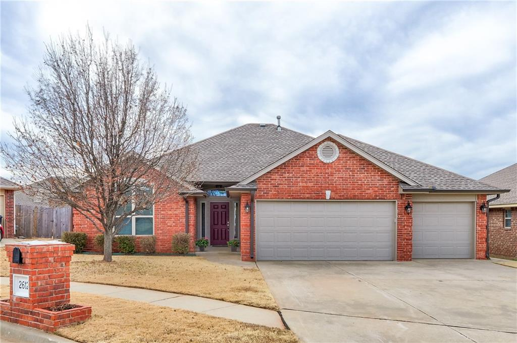 """Welcome home!!! This stunning home was completely rebuilt in 2018 from the studs inward. All new HVAC, all new electrical, plumbing, new roof in 2018, flooring, appliances, etc... UPDATES galore! This beauty is a true Mother-In-Law plan: 4 bed, 2 bath, 3 car garage, with an open floor plan. Master bedroom contains an ensuite bathroom w/a tiled shower, garden tub, and large wrap around walk-in closet!  The fireplace is just stunning with a white quartz tile that shimmers when lit. You will love cooking in this gourmet kitchen, with 1 1/2"""" thick poured concrete with bronze and copper glaze finish, with a silver vein, that compliments the mosaic glass tile backsplash.  Easy access to I-35 and I-240. Super close to Tinker, downtown, shopping, and Moore School district. *This home was rebuilt due to a fire in January 2018.  The puppy jumped up and hit the knob to stove.  He's okay though! Realtor is related to Seller.*  Super easy to show! Covered back patio with out-building included."""