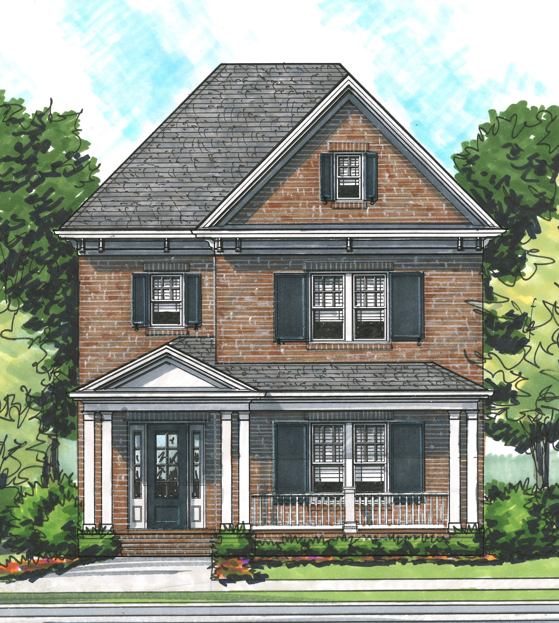 "Stately brick ""Abigail"" in newest section near golf course and facing a park!   Large front porch, back porch w/fireplace.  Five bedrooms, 4 baths, KitchenAid appliances including commercial range, lots of hardwoods, 10 & 11-ft ceilings on the main, 9 ft ceilings up, decked out with lots of upgrades!"