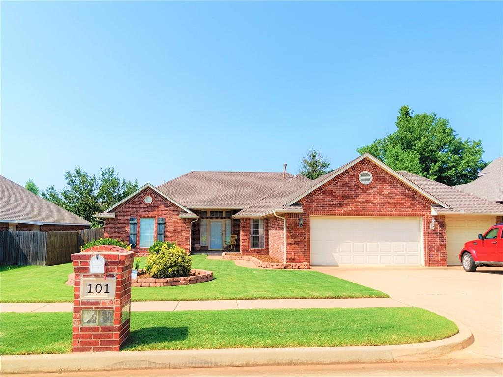 ***HOME IS RENTED UNTIL 5/31/22***Rent$1570/mo deposit $1550..Lovely Home in the Sheffield Glen Addition in Edmond, close to shopping and easy access to the highways. This amazing home comes with 3 bedrooms, 2 and half baths, a vaulted ceiling in the great room that opens up to the formal dining. The second living is open and has a fireplace you can cozy up to right off the kitchen and second dining. The kitchen has an island breakfast bar, dishwasher, electric stove and built in microwave, and pantry storage. There are 2 good sized bedrooms with nice sized closets and dual vanity in the hall bath. The master bed and bath has a walk in closet and jacuzzi tub.  There is a 3 car garage and bonus storm shelter that will provide safety in the event of a tornado.  Step outside to covered patio and wonderfully landscaped backyard.  There is a community pool to cool off in with playground set. Call for your tour today!