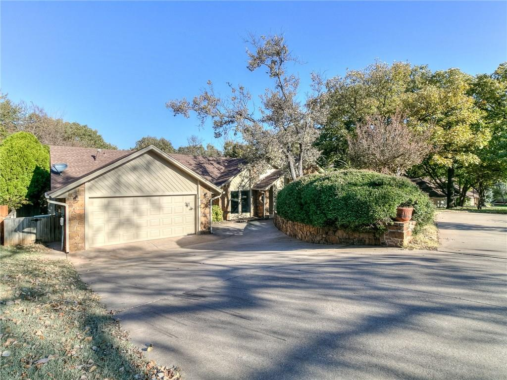 A beautiful & unique spread in the heart of North Edmond! Close proximity to hgwys, major shopping, eateries, parks & more! The unique offering starts w/circle drive & a straight-on shot to the garage! Front entry area open to formal dining & living room w/stained beams, fireplace, built-ins & french door access to atrium area! New flooring, fresh paint & updated fixtures are plentiful to provide a modern, contemporary & classic appearance! Kitchen w/double ovens, quartz counters, gas cooktop, subway backsplash, farm sink & eating space! Through the eating space & you arrive in the spacious family room w/old school wet bar & storage areas, half bath, laundry & garage access! The master suite includes atrium access, tray ceiling, totally updated master spa w/tub & shower, dual vanities, & walk-in closet w/dresser storage option! Secondary beds both include bath access, dual vanities & medicine cabinet mirrors! Unique backyard spread w/creek overlook, decks, storage & quiet times!