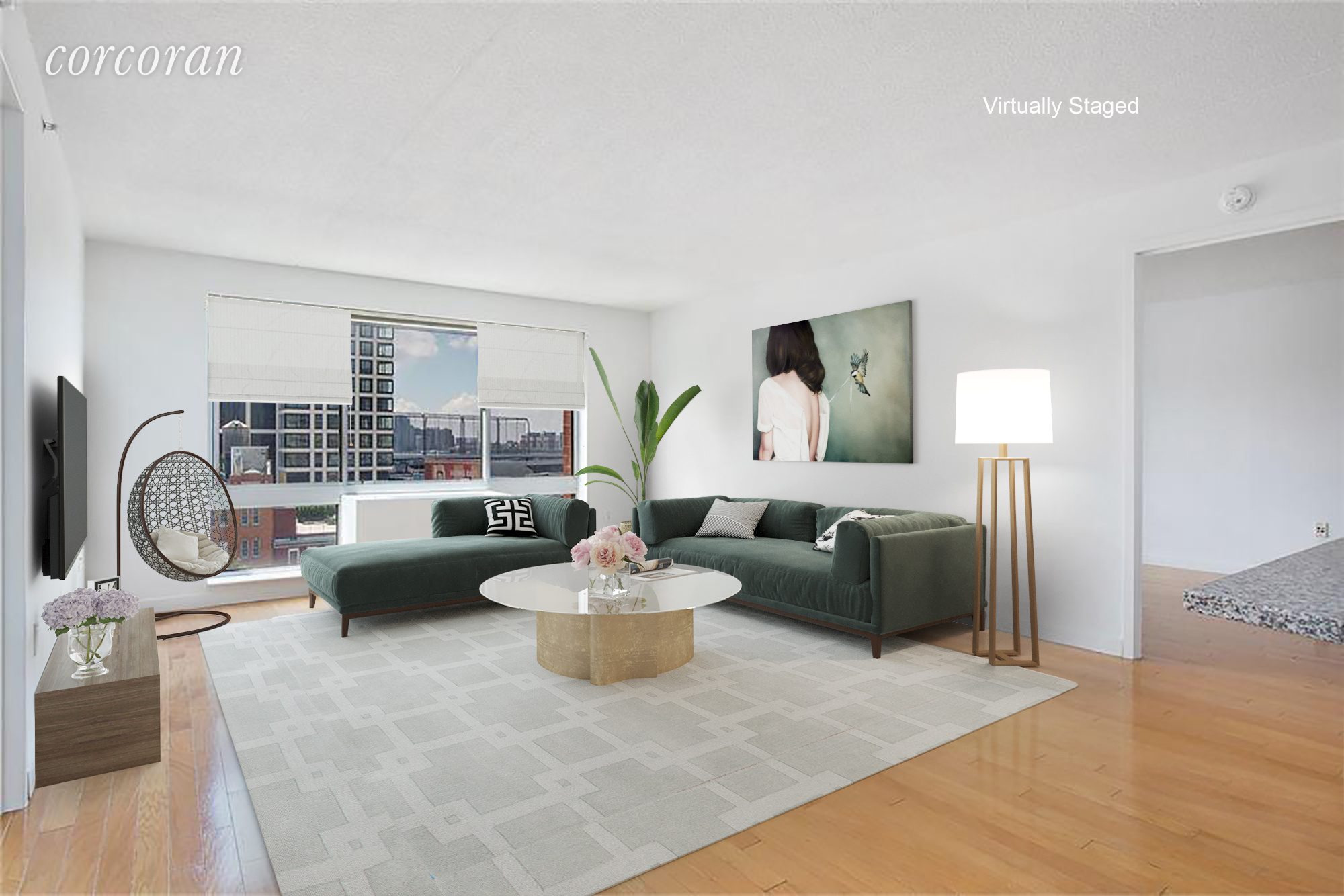 This perfectly situated 1,100 sq ft 2 bedroom 2 bathroom Chelsea condo is located just half a block from the Highline to the East and just half a block to Chelsea Piers and the Hudson River Park to the West. This wonderful apartment includes an open kitchen with stainless steel appliances, hardwood floors, plenty of closet space (including a walk-in master closet) and a washer/dryer in unit. The view provides tranquil city vistas including lovely light throughout the day. 555 West 23rd is a full-service condo and home to a residents' lounge with a fireplace, a common outdoor terrace, central laundry room and a large fitness facility.Please note: There is a fee of $3,000Available June 15th, 2020