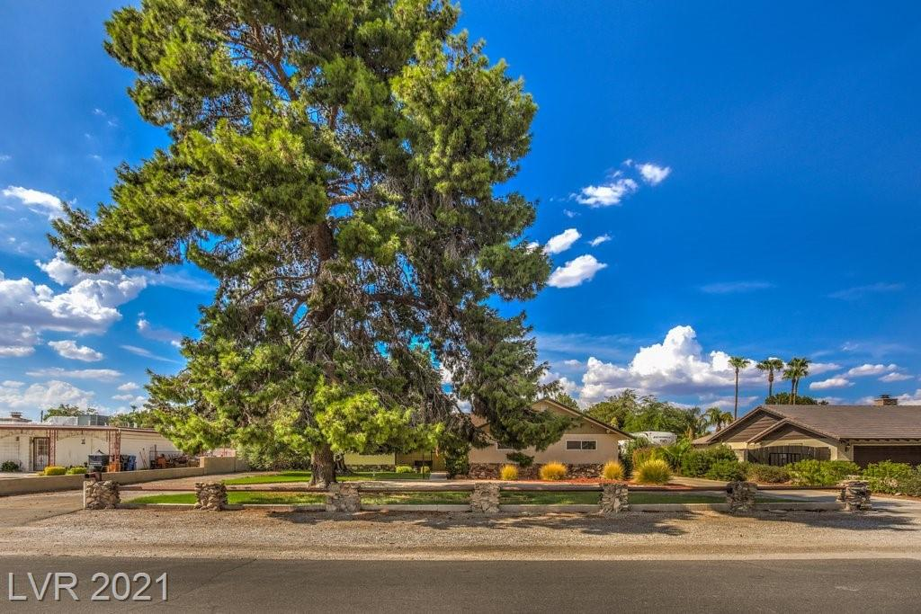 This is your chance to own a piece of Las Vegas history! Nestled in a quiet community this spacious single-story home built in 1963 sits on a sprawling ½ acre, park-like setting with mature trees. As you enter the home you are greeted by pieces of an iconic hotel that original owner incorporated into the décor along with wet bar and wood burning fireplace. With 3 bedrooms and a possible 4th, this home offers lots of space for entertaining indoors and out. Three driveways provide parking galore for guests, large RV's, boats, and toys. Detached oversized garage boasts a large separate workshop in back with plenty of room for tools and projects. Enjoy the lush green backyard oasis with large sparkling pool/diving board, covered patio, tiki bar, 10 x 10 cabana with A/C, and full-size basketball court. Home upgrades include newer energy efficient HVAC system/ductwork, kitchen island and appliances, flooring, pool filtration system, and more!
