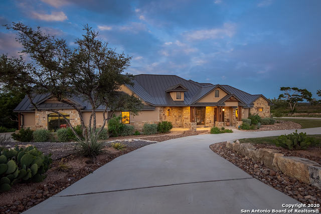 Over 1 acre of land in a highly sought out community with amazing views for miles! Come and view this Gorgeous Hill Country, lodge style, retreat on a corner lot offering much serenity just minutes from city amenities. Enjoy unobstructed sunrise views for miles from the spacious covered patio and large deck. True one-story living at its finest in a home loaded with custom stone and warm wood accents. The open floor plan includes both formal dining and an eat-in kitchen, executive study, butler's pantry and bonus room for entertaining. The furniture is negotiable and custom to the home! Large circle driveway with plenty of parking for entertaining guests! Truly a Must See! Schedule your showing today!