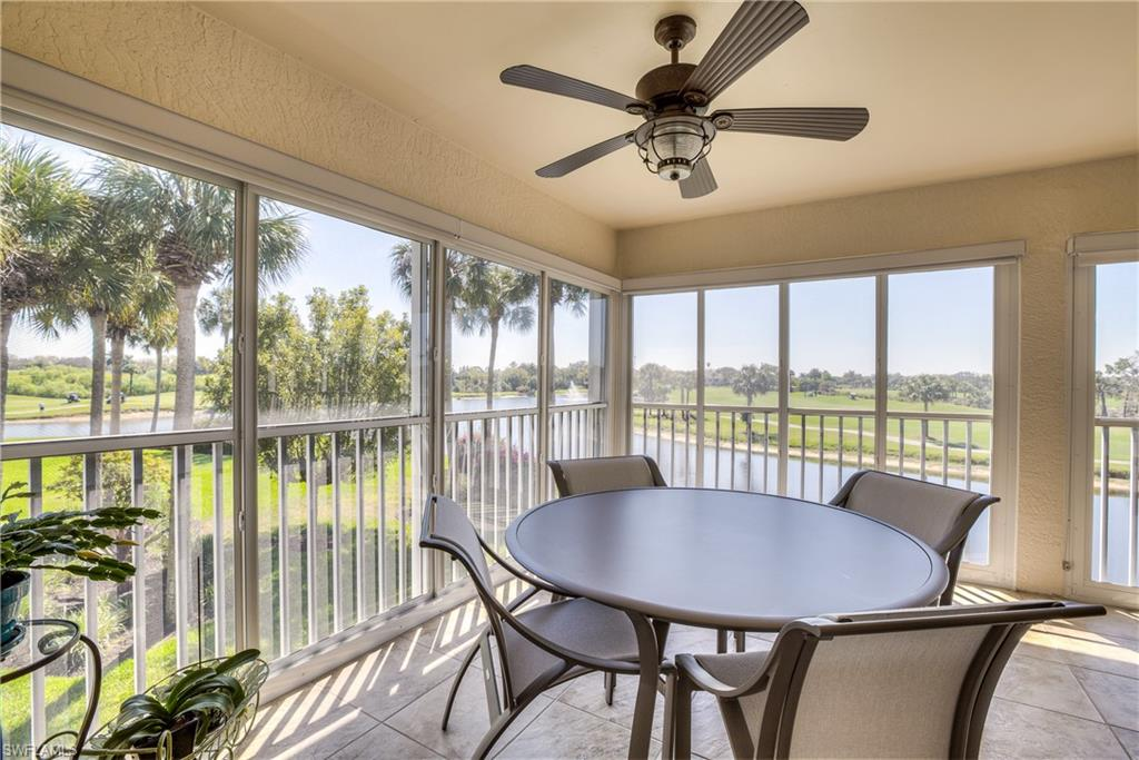 A million dollar view of water, golf, and beautiful sunsets come free with this affordably priced coach home in the Vines at ESTERO CC.  This condo offers a VAULTED CEILING over the open great room, kitchen, and dining areas. SLIDERS enclose the large L-shaped TILED lanai to allow for additional living space.  The master bath is updated and features a large walk-in shower and free standing soaker tub.  Plantation shutters, open den area, see-thru sunshades, updated fixtures, separate guest bed & bath, abundant closets, and stainless appliances create the perfect MOVE-IN READY winter get-away or a full time home.  Recent UPDATES include:  ROOFS, exterior paint & fixtures (2020), HVAC 2015, and water heater 2021  A social membership to Estero CC is required and full golf memberships are also available.  The club features clubhouse, championship golf course, and lighted tennis courts, pickleball, and upcoming renovations which include extensive outdoor dining & bocceball courts.  Southwind is pet friendly and offers a pool and social gatherings.