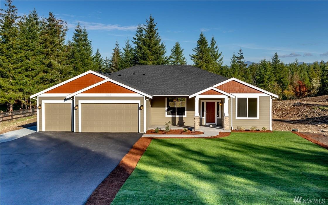 Brand New Construction! 2474 SF Rambler on a 5.07 acre lot! Open concept with vaulted ceilings. 3 beds/ 2.25 baths with Den/Office + 3 car garage! Front landscaping, covered front/back porches. Open kitchen w/granite slab counters, pantry, tile back-splash, SS appliances, in-island sink/Dishwasher. Master suite features private bath w/tile floor, soaking tub, 6' shower, double vanity & walk-in closet. White mill-work/doors, LVP Flooring, and propane Fireplace! Mins. from JBLM, shopping & dining.