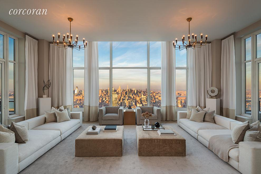 Virtual and In-Person tours are available. Please contact us today to schedule your tour.Sponsor Sale ready for immediate occupancy: Enjoy the highest residential outdoor space in the city from the four corner terraces that surround this full-floor penthouse.  Masterfully designed by Robert A.M. Stern, this full-floor penthouse is a gracious, 4,500+ square foot three bedroom, 4.5 bathroom home that occupies the enviable position at the top of 30 Park Place.  This one-of-a-kind property is located on the 82nd floor in the building's crown and boasts dramatic 360-degree views of the Manhattan skyline, Hudson River, East River, New York Harbor and beyond.  A formal reception hall opens into a Living Room with expansive, unobstructed views of Midtown Manhattan, and both the Hudson and East Rivers.  Terraces on either side measuring over 19' wide offer continuous views North, East and West from nearly 900' in the sky.  A separate formal dining room enjoys access onto a double-exposure terrace and flows seamlessly into a windowed eat-in chef's kitchen and adjoining family room.  A sun-filled library with a gas-burning St. Tropez French limestone fireplace, wet bar and adjoining terrace completes the grand entertaining spaces of this full-floor penthouse.  The southern wing of the penthouse features an over 27' wide master bedroom suite framed by double terraces with south, east and western views; also included within the spacious suite are two walk-in closets, a dressing room, and dual master bathrooms. There are two additional bedrooms each with en-suite bathrooms.Other notable details within this residence include a butler's pantry, fully-equipped laundry room, separate service hall with dedicated service entrance, ceiling heights that soar up to 12' and above, and advanced pre-wiring for in-home technology with dedicated media closet.  Custom interiors by Robert A.M. Stern, including: white oak Bilotta custom-designed kitchen cabinetry featuring Gaggenau appliances and polished marble countertops; master bathrooms with marble slab floors and countertops, Kallista fittings & accessories and radiant heat flooring; ceiling hung four-pipe fan coil heating and A/C system with dedicated zones; and solid white oak floors in natural matte finish with herringbone pattern in select formal rooms.The complete terms are in an offering plan available from the Sponsor (File No: CD 13-0258)