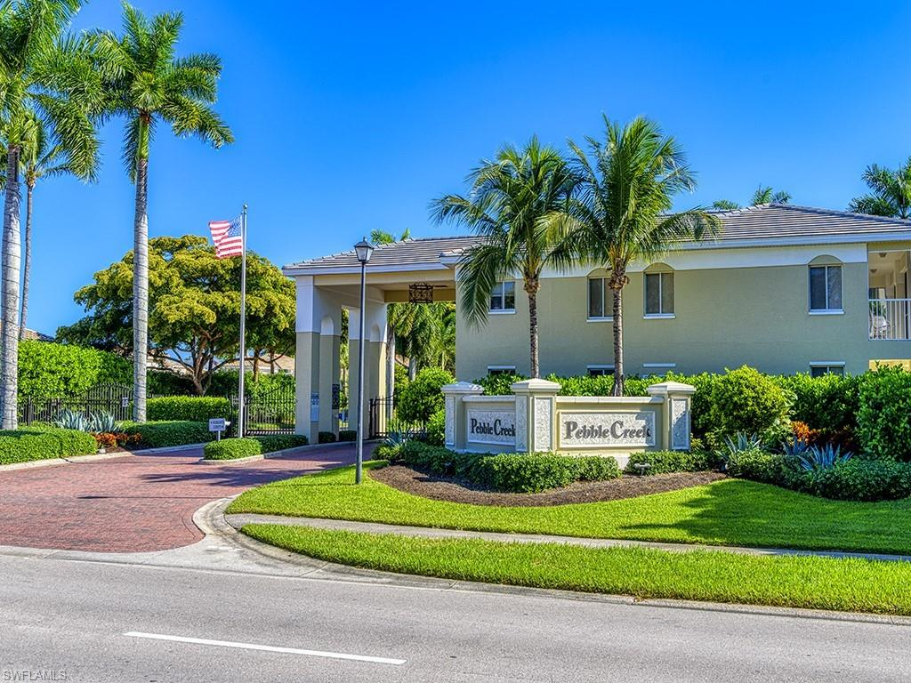 The location of Pebble Creek is one of the best in Pelican Bay as it is just across the street from the tram station to the beach. This is the lowest priced unit in Pebble Creek. It is a  second floor 2 + den unit
